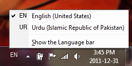 Language Bar in Windows 7